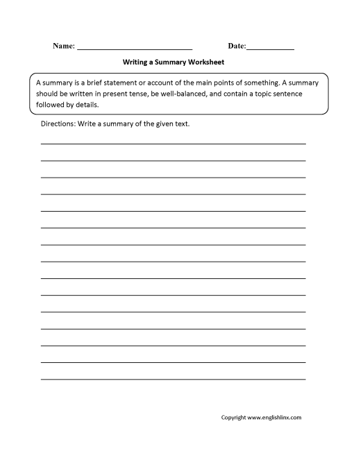 small resolution of Summary Worksheets   Writing a Summary Worksheet