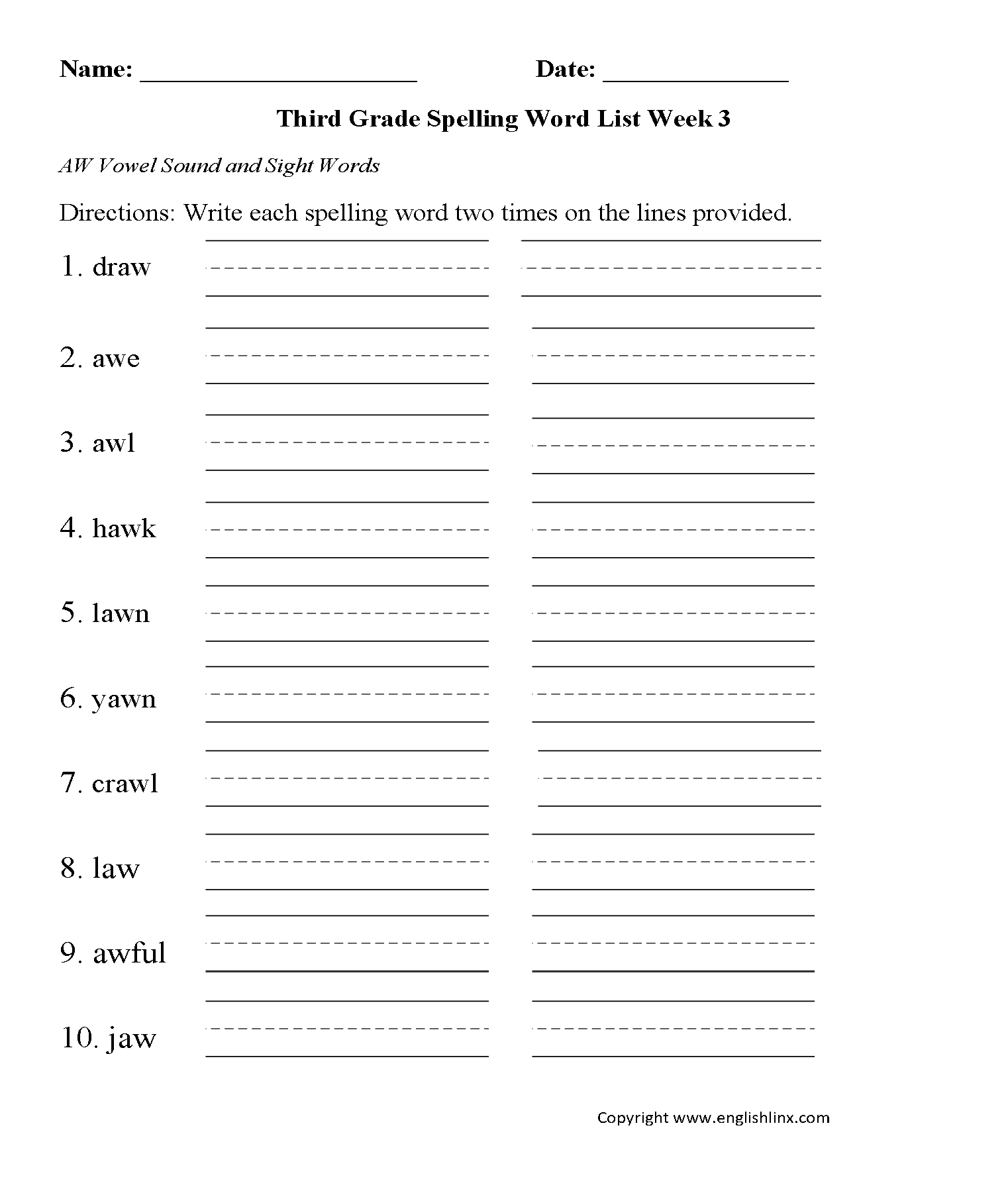 Grade 3 Spelling Worksheet