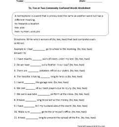 Commonly Confused Words Worksheets   To [ 1199 x 910 Pixel ]