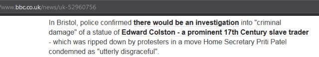 BBC justifying Criminal Acts of Vandalism Bristol Statue