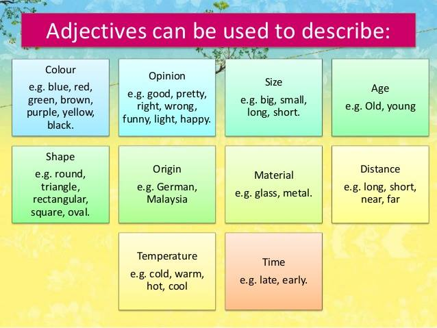 adjectives can be used