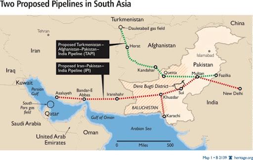 Pipeline War in Iran Afghanistan Pakistan Oman Qatar