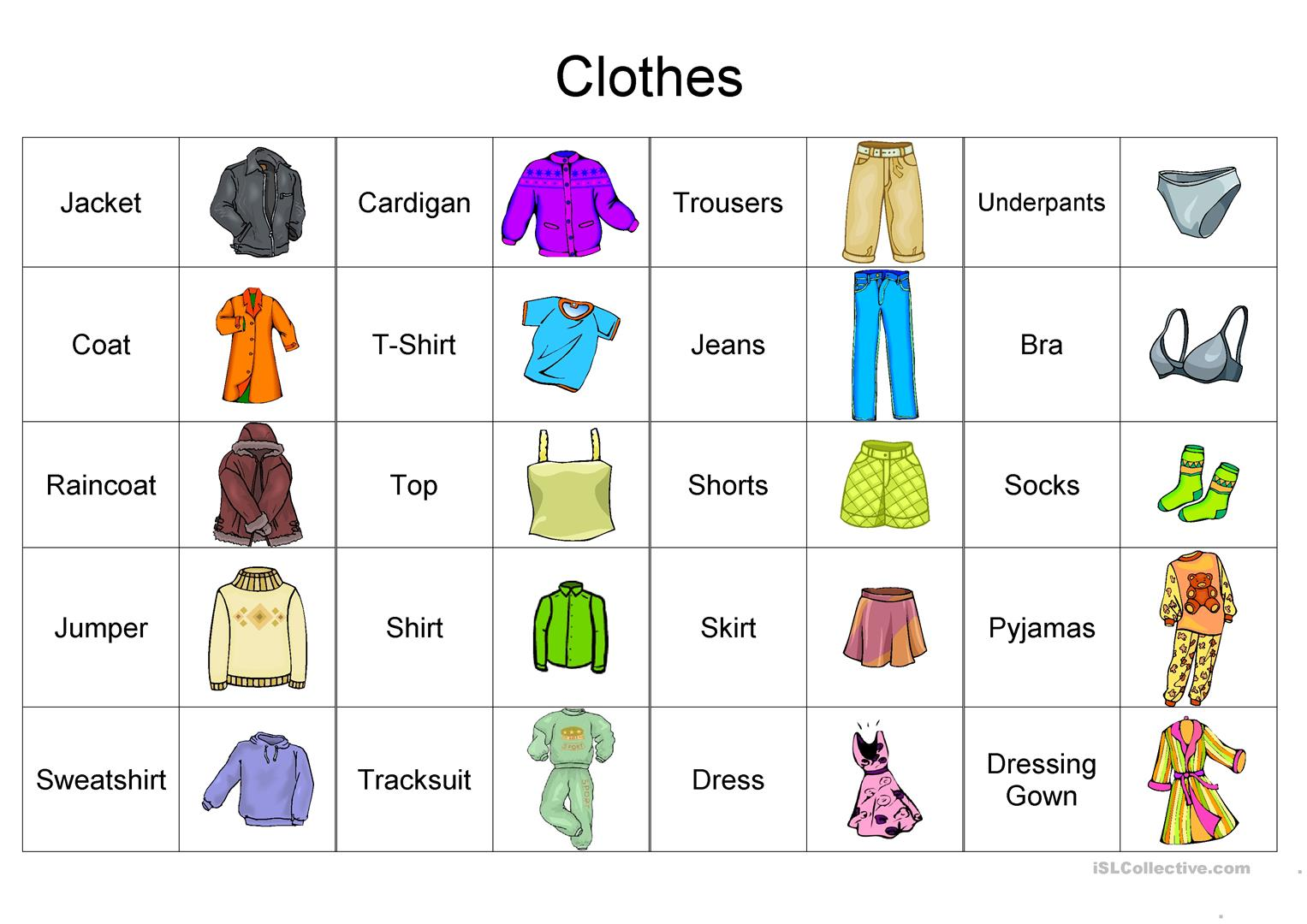 Clothes Vocabulary Picture Dictionaries 1