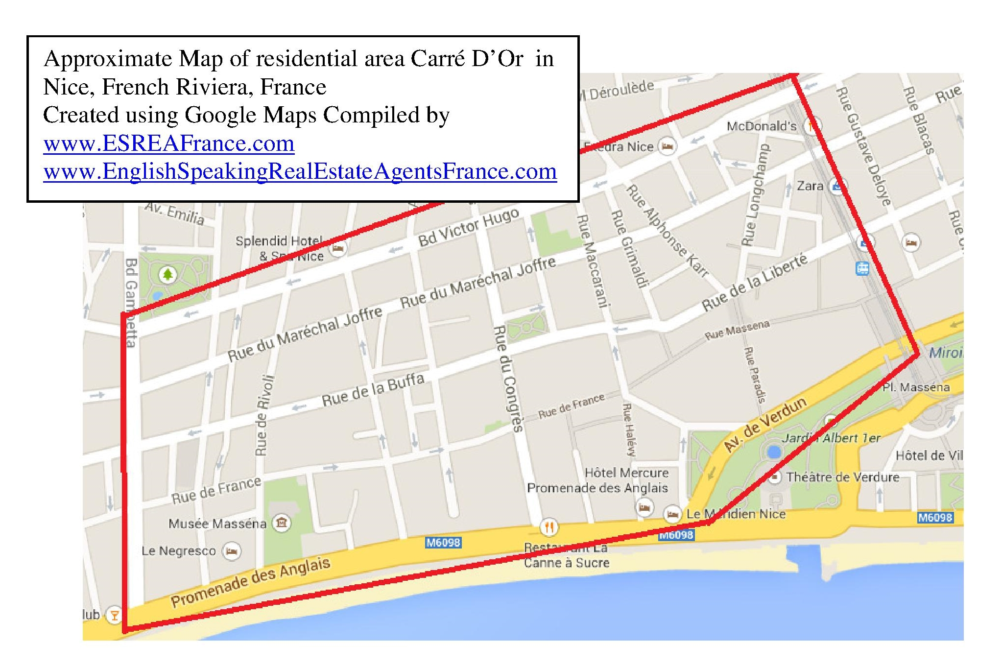 Map of Carre d Or Area in Nice France where is the Carre d Or in