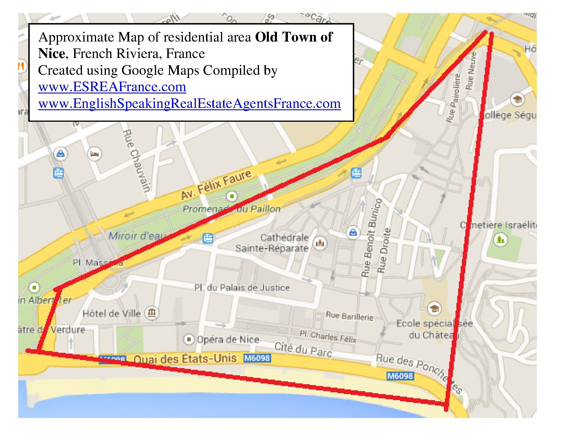 Map of Old Town Nice Residential Area in Nice French Riviera ESREA