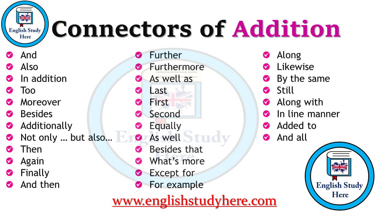 Connectors Of Addition In English English Study Here