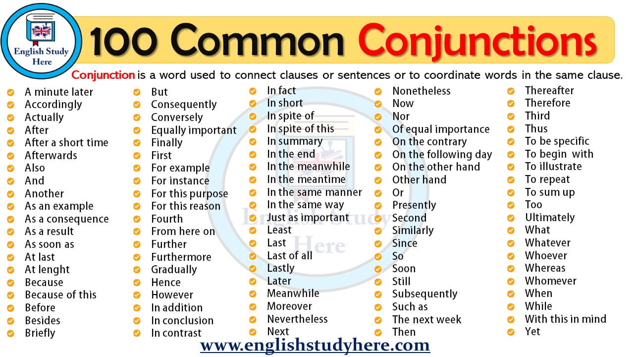 100 Common Conjunctions English Study Here