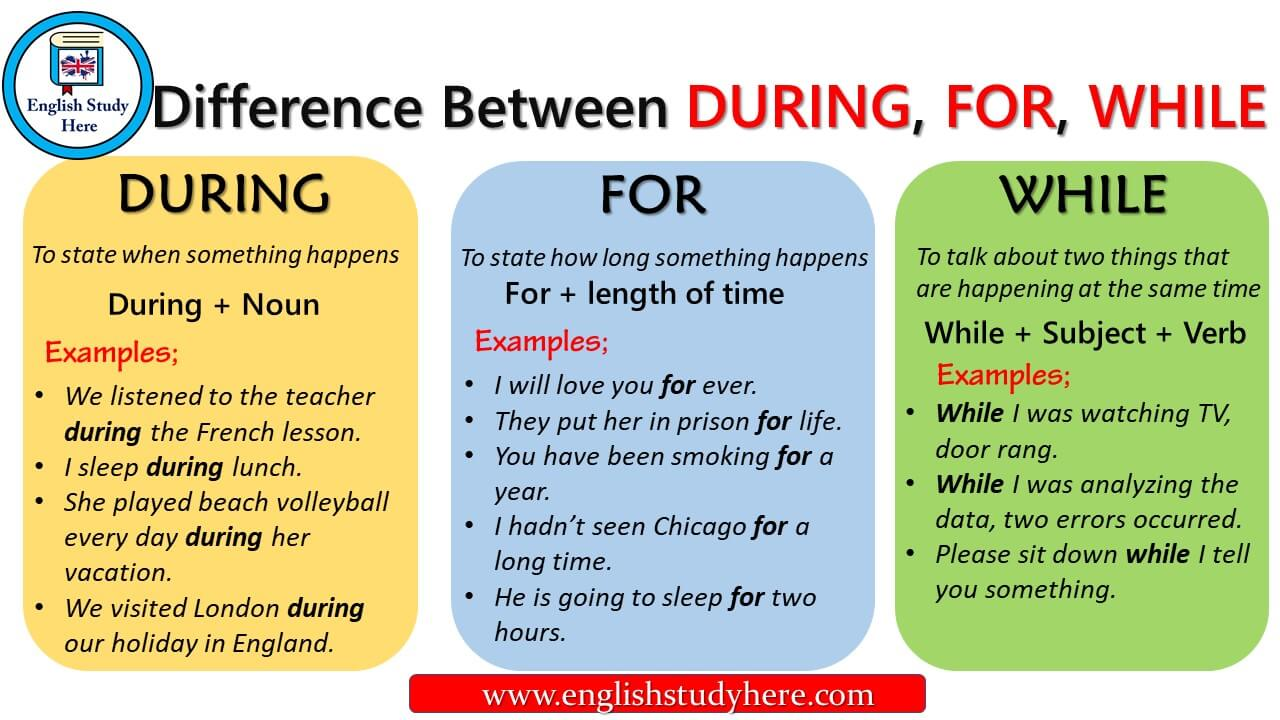 difference between during for while english study here