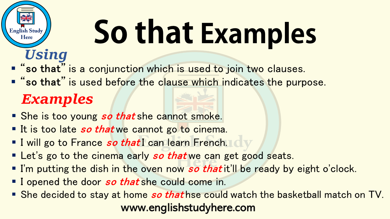 So that Examples - English Study Here