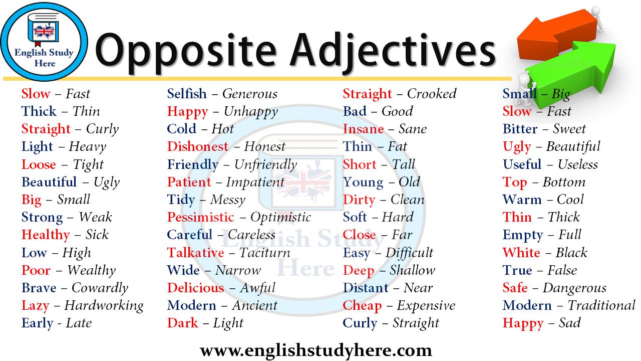 opposite adjectives vocabulary english