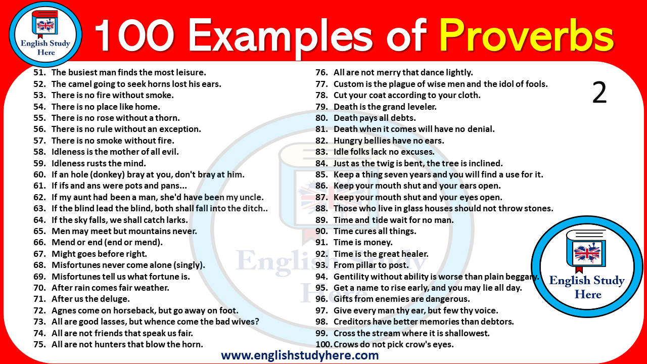 100 Examples Of Proverbs English Study Here