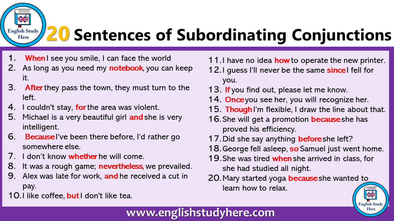 hight resolution of 10 Example of Conjunction in a Sentence - English Study Here