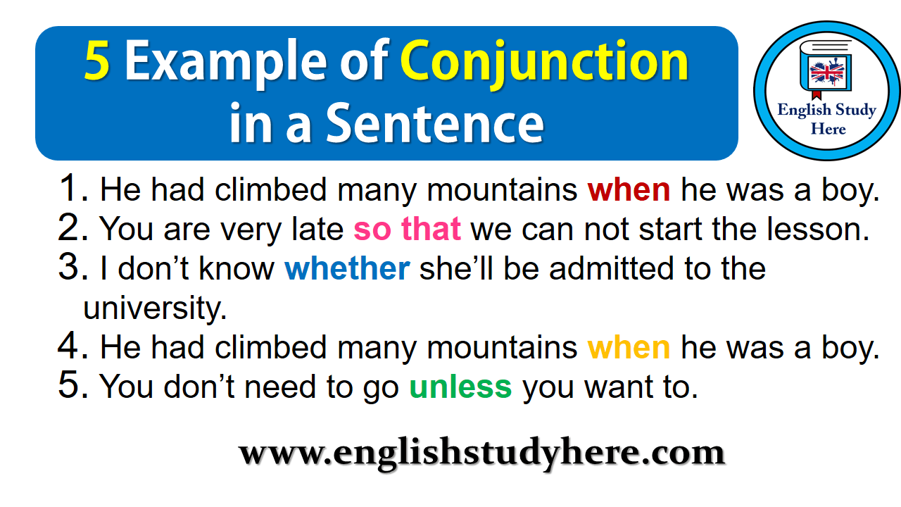 5 Examples Of Conjunction Sentences English Study Here