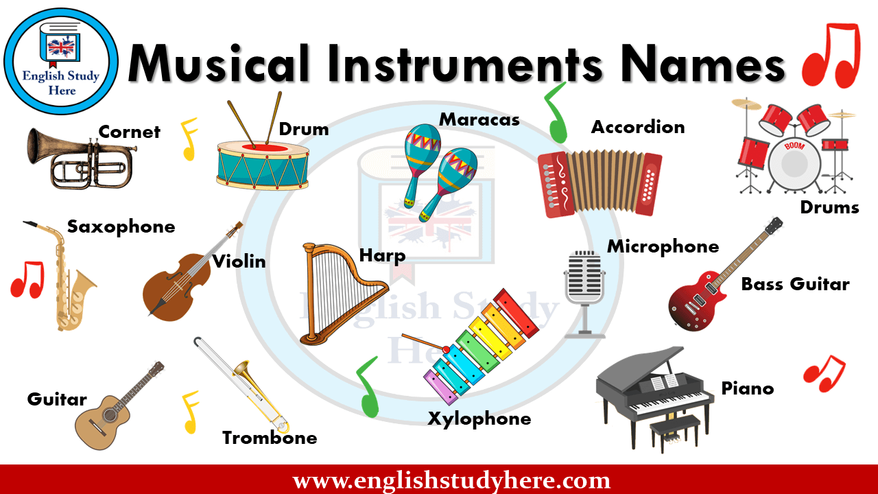 Musical Instruments Names And Pictures English Study Here