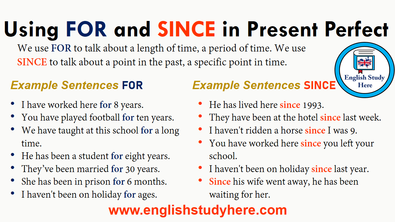 Using FOR And SINCE In Present Perfect English Study Here