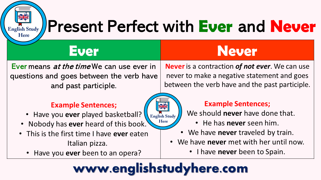 Present Perfect Tense With Ever And Never English Study Here