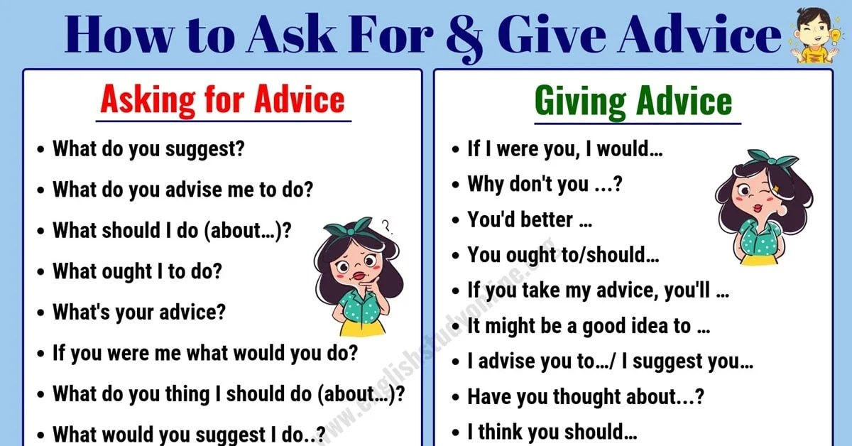 Simple Ways to Ask for & Give Advice in English   Ask For ...