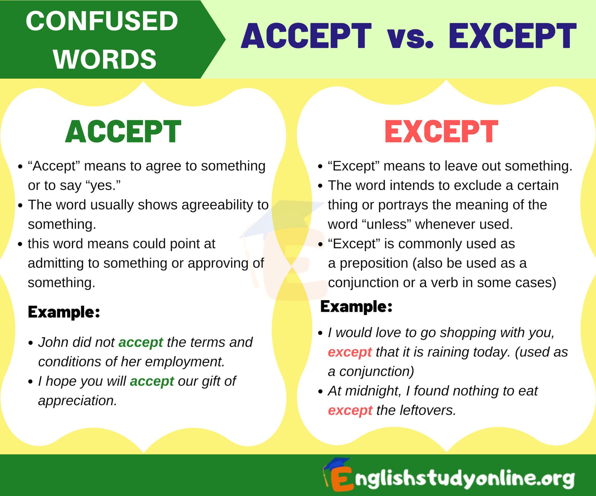 Accept Vs Except