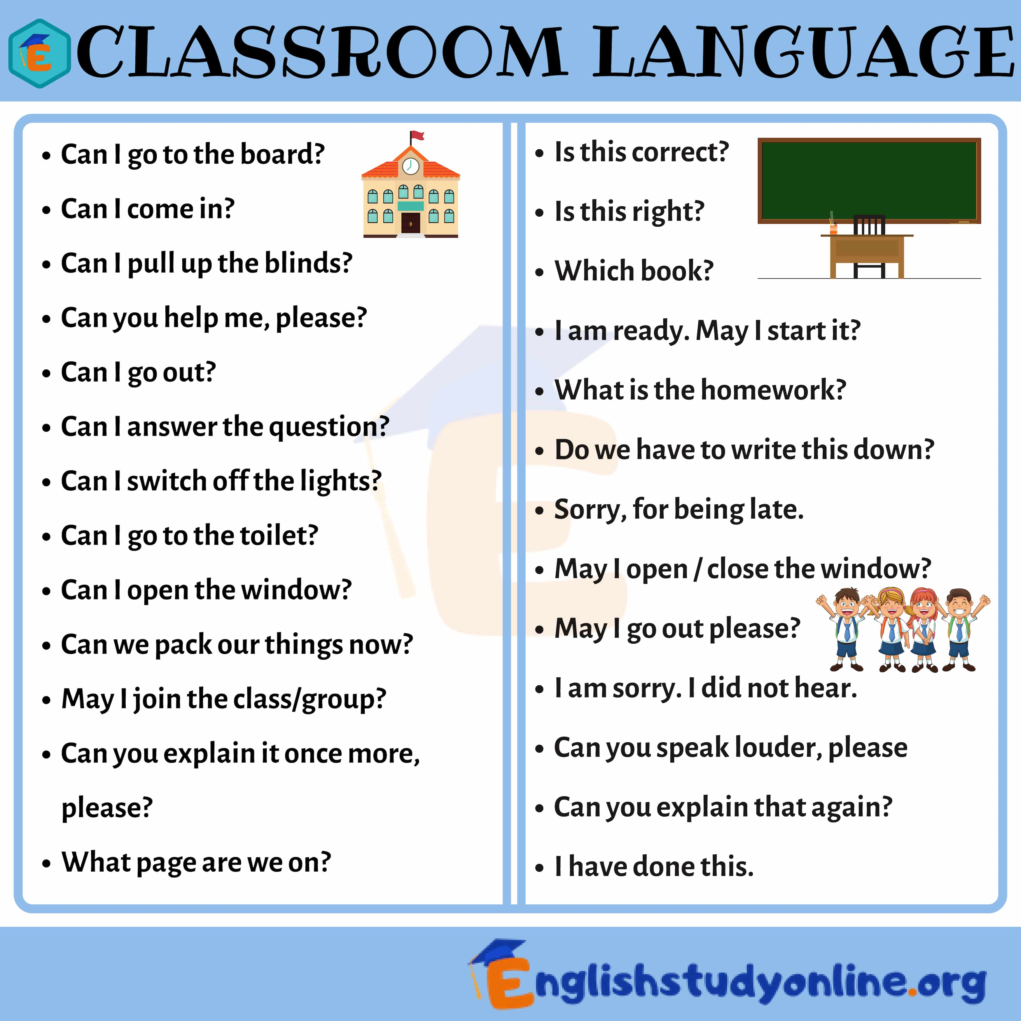 Popular Classroom Language For Esl Students In English