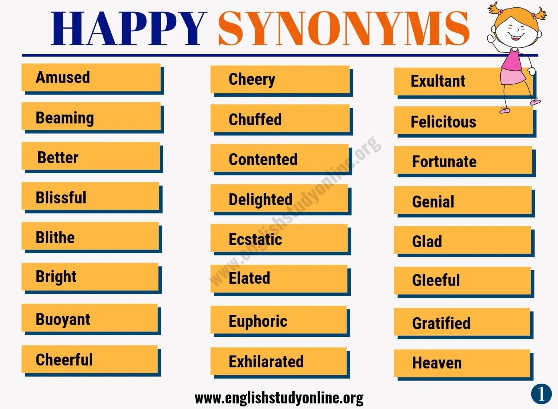 Happy Synonym List Of 50 Powerful Synonyms For Happy