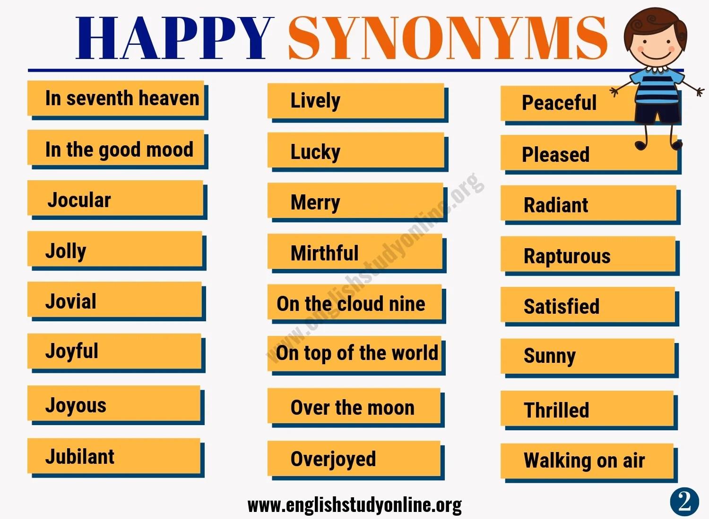 happy synonym list of