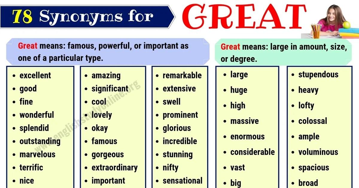 great synonym list of