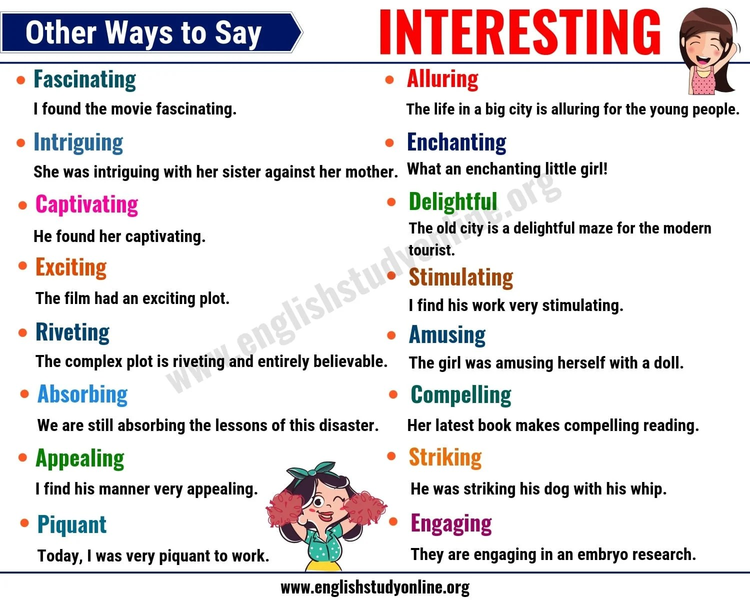 interesting synonyms list of