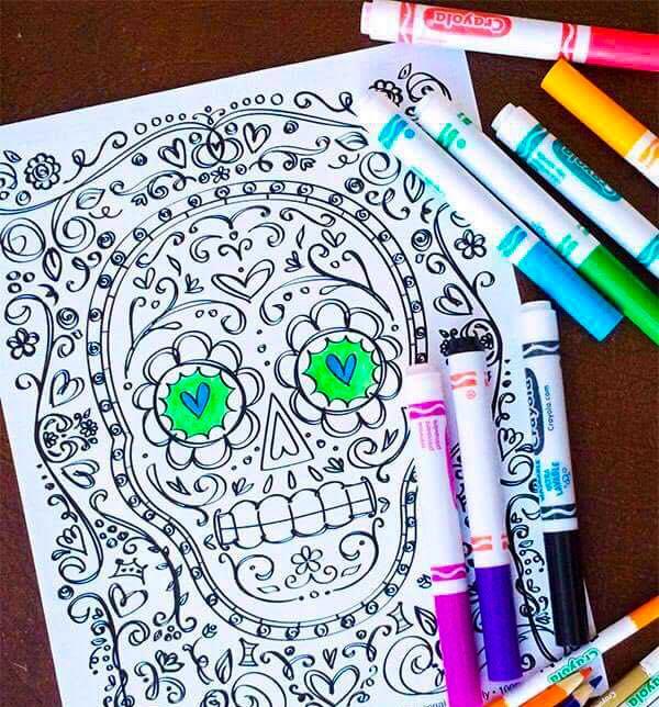 Halloween Classroom Activities: Colorful Day of the Dead Skulls