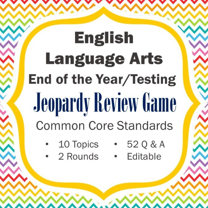 ELA End Of The Year Review Testing Review Jeopardy Game