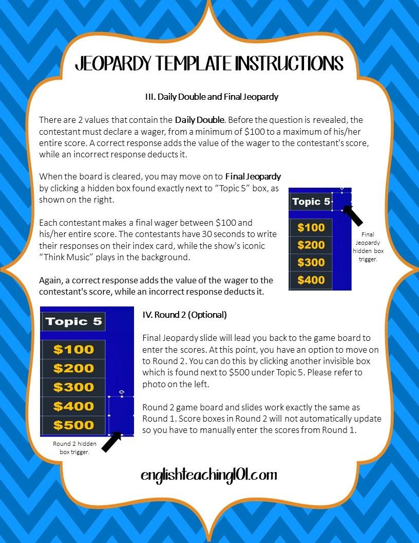 Jeopardy Game Template | English Teaching 101English Teaching 101