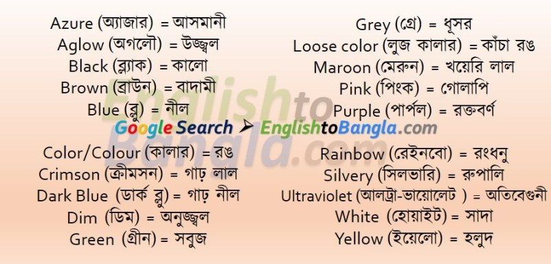 Commonly used words Colour