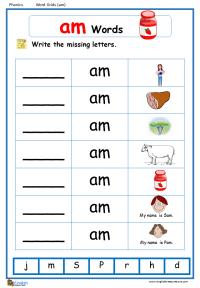 Am Word Family Worksheets - Kidz Activities