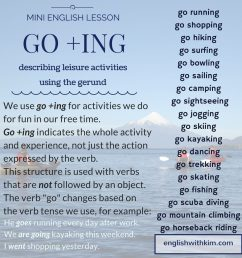How to Use Go +Ing (the Gerund) to Describe Fun Activities • English with  Kim [ 1024 x 1024 Pixel ]