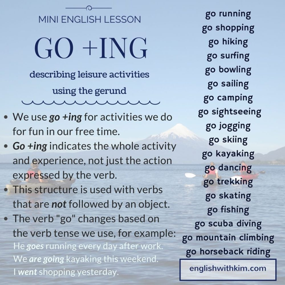 medium resolution of How to Use Go +Ing (the Gerund) to Describe Fun Activities • English with  Kim