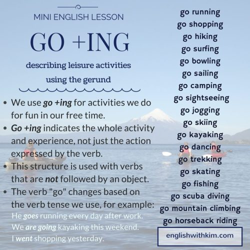 small resolution of How to Use Go +Ing (the Gerund) to Describe Fun Activities • English with  Kim