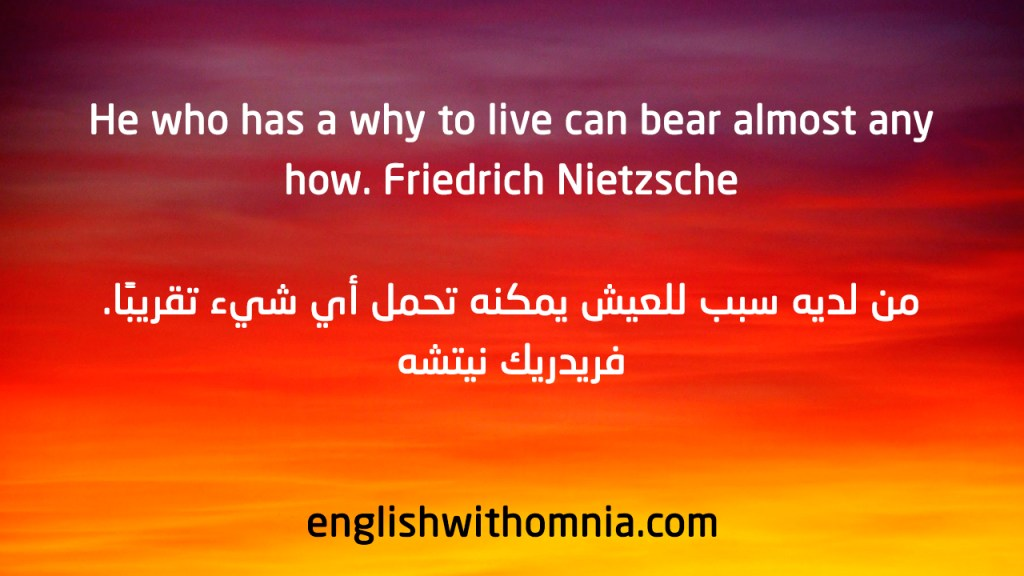 He who has a why to live can bear almost any how. Friedrich Nietzsche