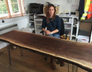 Chloe and her new american walnut desk