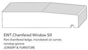 joinery and furniture profile and moulding chamfered window sill