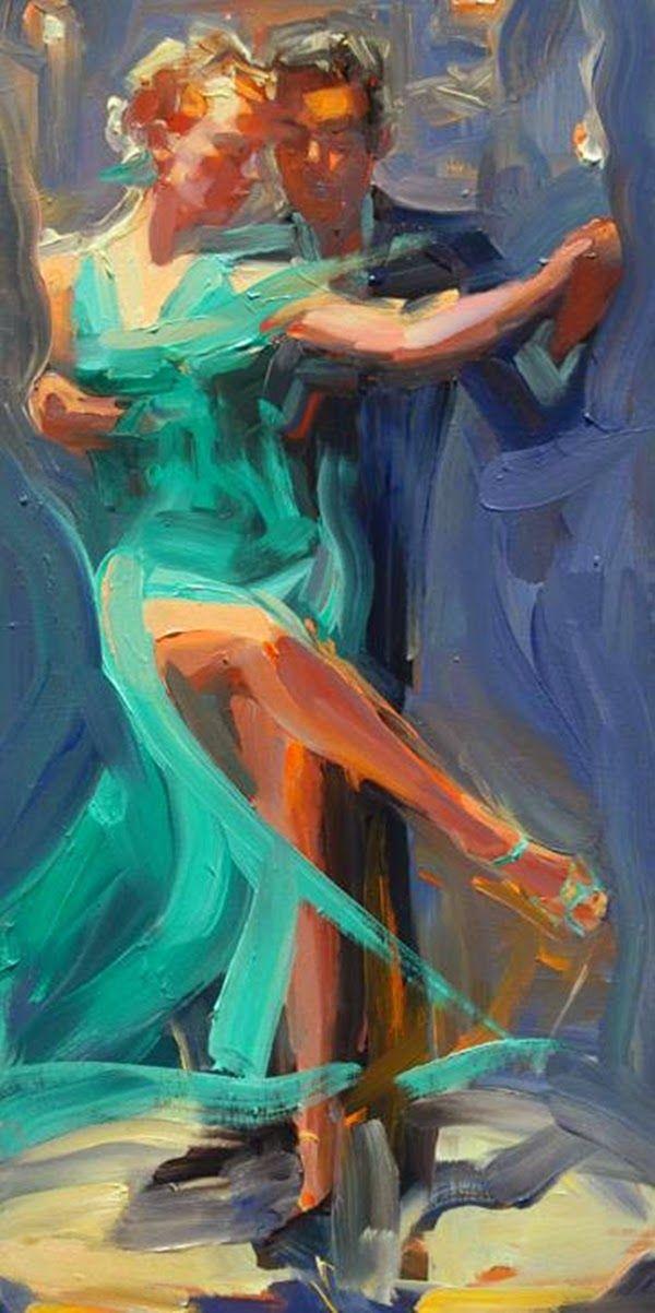 Two people dancing tango
