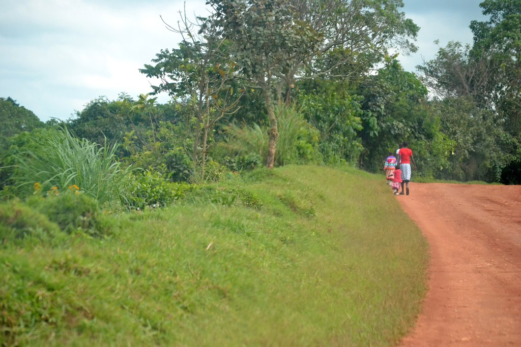 walking down the road in Fort Portal