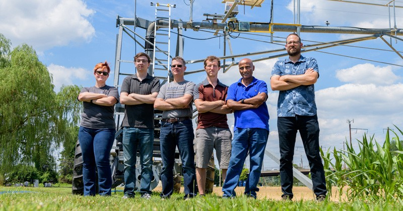 UD researchers involved in the robotics work in agriculture include, left to right, Erin Sparks, Pete Moore, Burt Tanner, Adam Stager, Teclemariam Weldekidan and Randy Wisser.