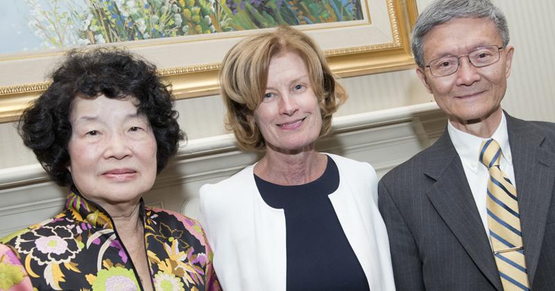 Vivian (Mei-Sheng) Chou, Provost Robin Morgan, and Tsu-Wei Chou