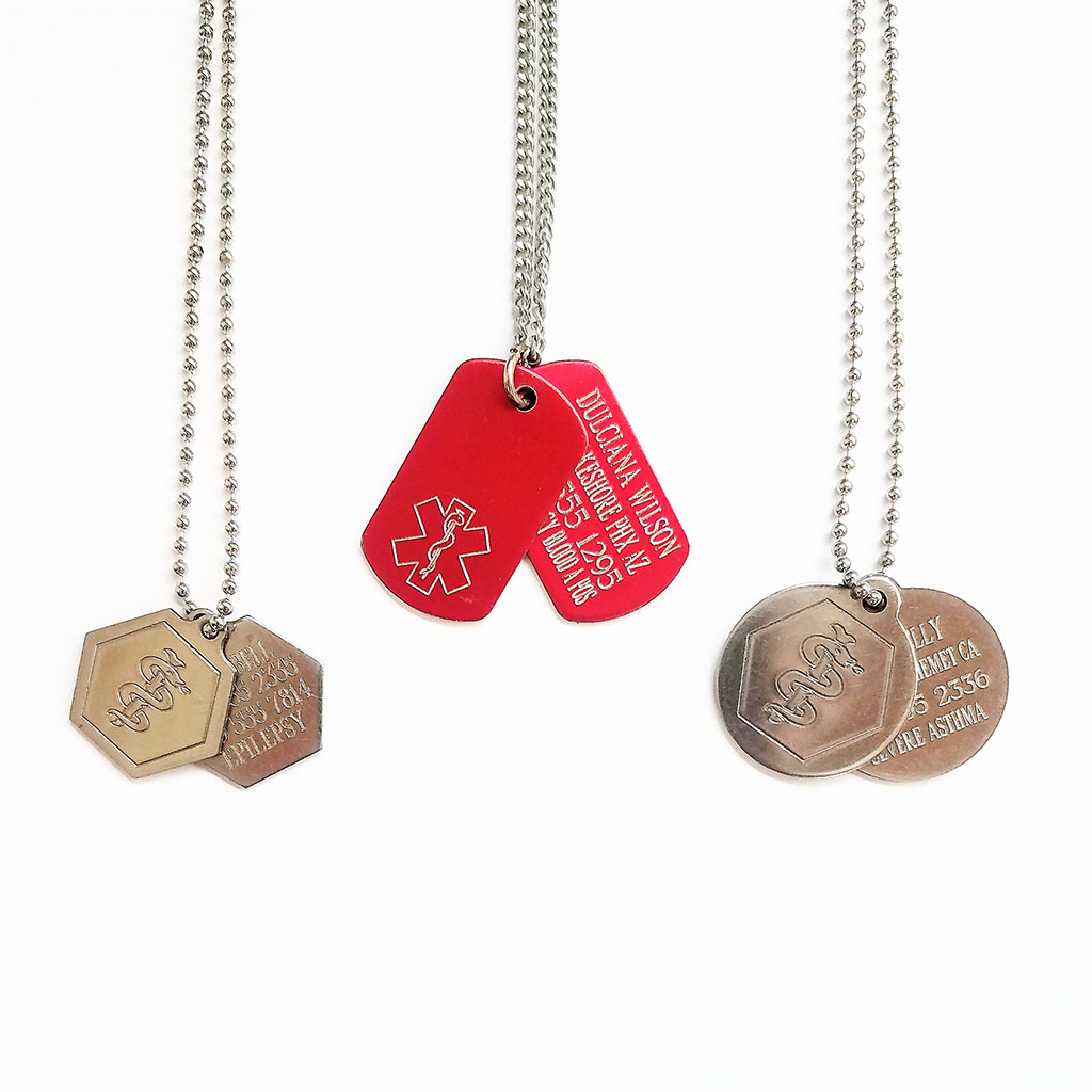 Engraved Medical ID Tags Necklaces: $8.50 Ease your mind.
