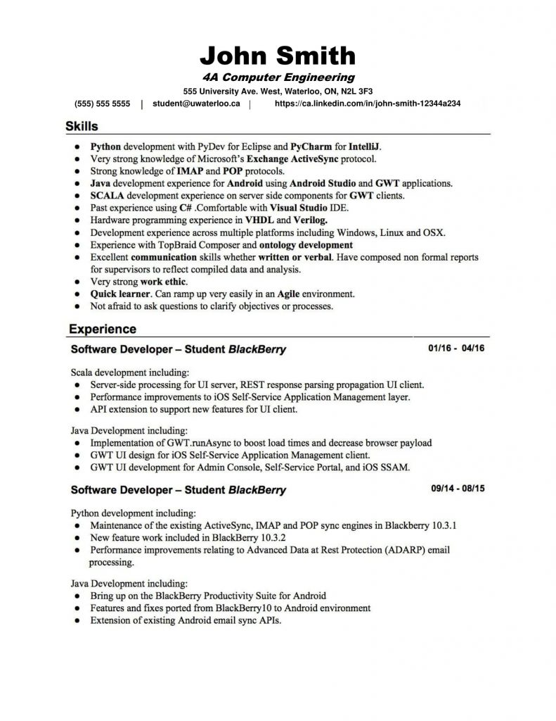 Java Application Support Resume Resume Templates Waterloo Engineering Society
