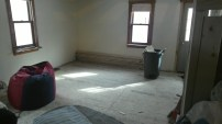 Complete subfloor in the living room.