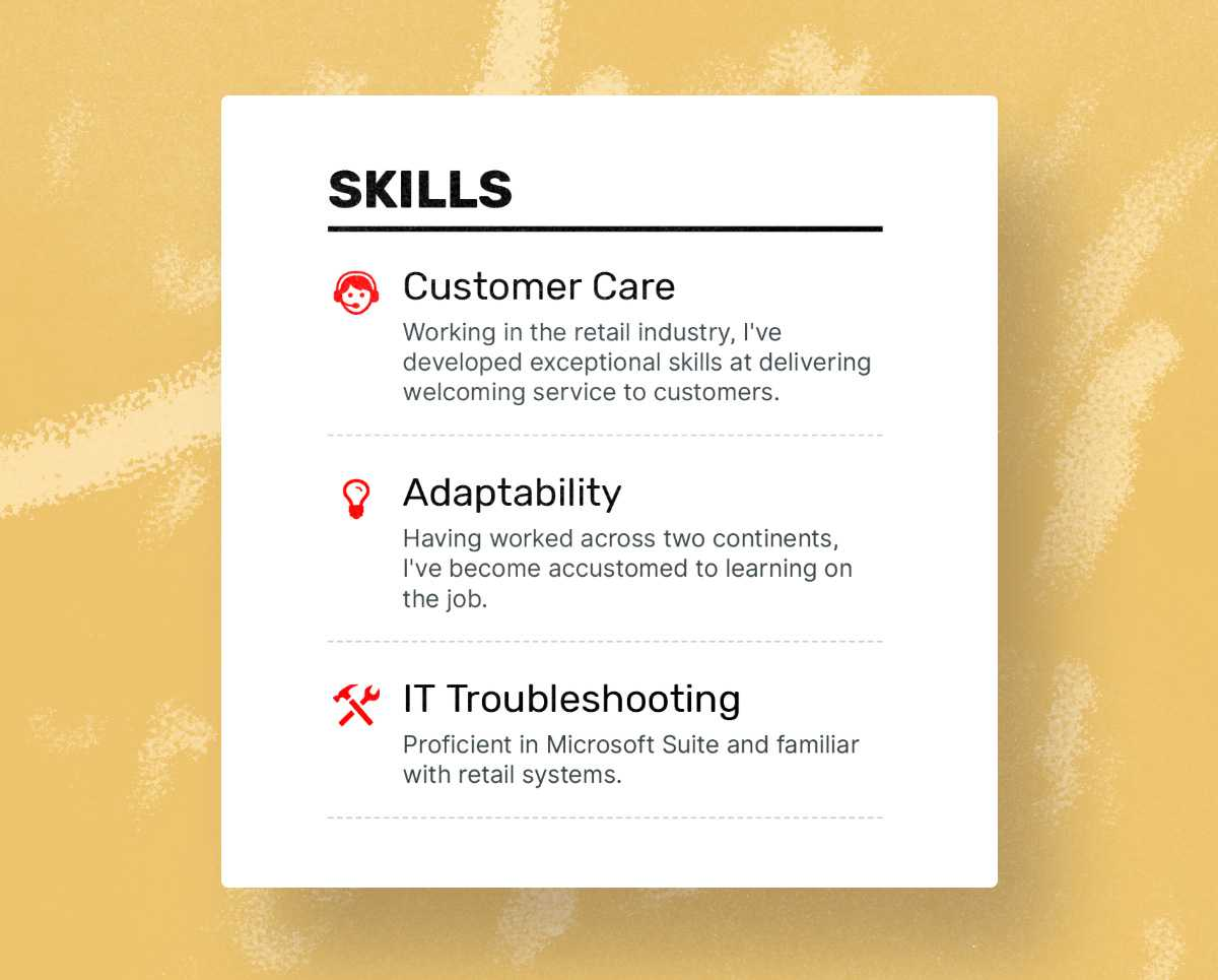 sample resume with skills