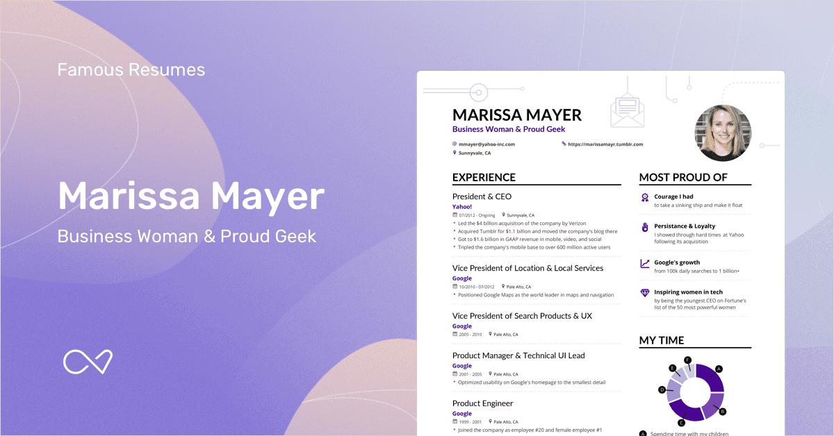 Marissa Mayer's Yahoo CEO Resume Example Enhancv