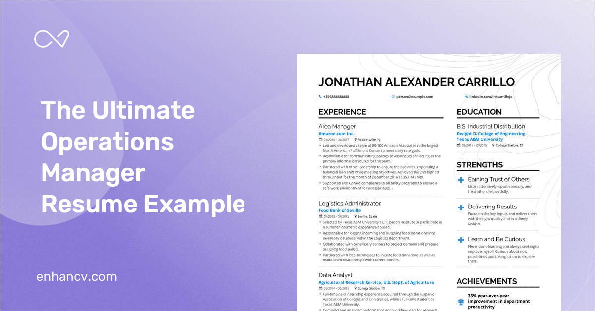amazon operations manager resume examples