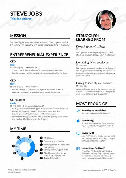 Steve Jobs' Apple CEO Resume Example Enhancv