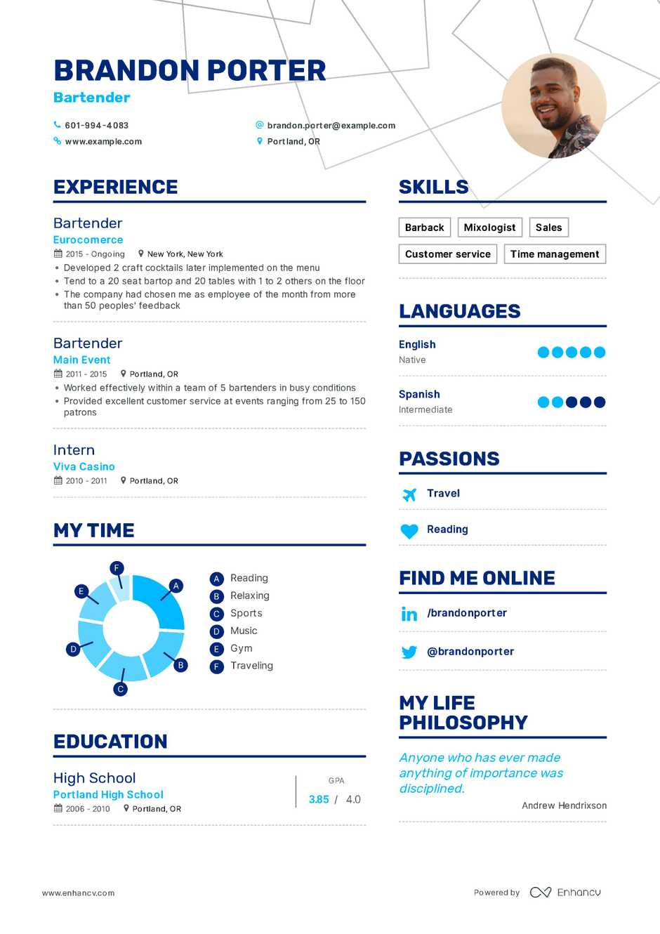 Bartending Resume Examples Bartender Resume Example And Guide For 2019